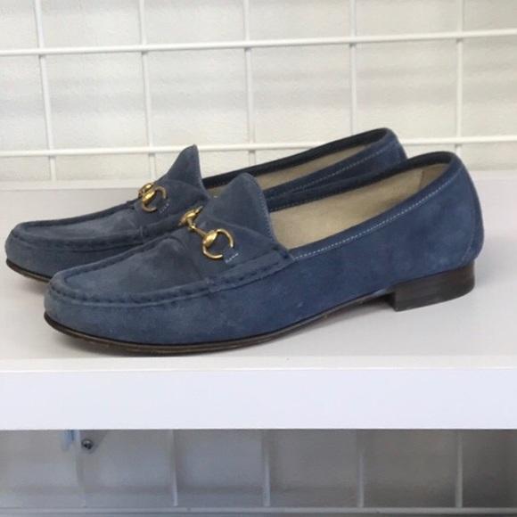 Blue Suede Gucci Horsebit Loafers Sz